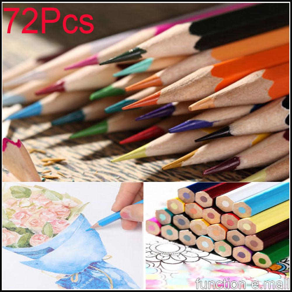 72Pcs Kids Adults Colored Pencils Book Sketching Drawing Art