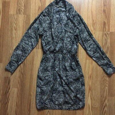 Charlie Jade Silk Black Gray Navy Abstract Coral Print Dress XS 0 Revolve Asos