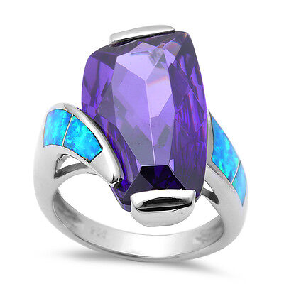 Amethyst & Blue Opal .925 Sterling Silver Ring Sizes 6-9
