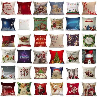 Merry Christmas Santa Sofa Car Throw Cushion Pillow Cover Case Home Decor Gifts  ()