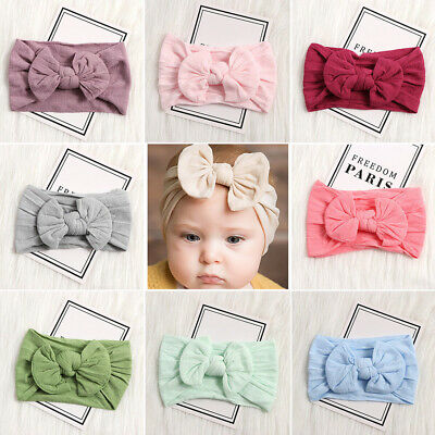 Newborn Toddler Nylon Headband Baby Elastic Hair Band Headwear Girls Bowknot