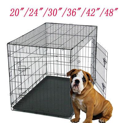 "20""/24""/30""/36""/42""/48""Pet Cat Dog Folding Steel Crate Animal Playpen Metal Cage"