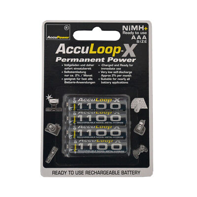 AccuPower AAA NiMH AccuLoop AL1100-4 Rechargeable Batteries Precharged 4 pack