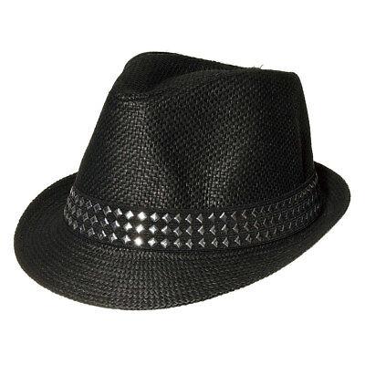 - Blue Banana Black Studded Straw Mens Womens Trilby/Fedora Hat Accessory