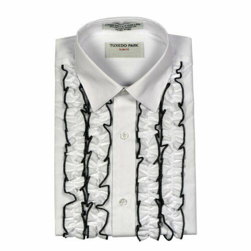 New White Black Trim RUFFLED Tuxedo Shirt Spread collar Vintage look  TUXXMAN