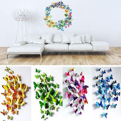 12x3D Schmetterling Aufkleber Kunst Entwurf Abziehbild Wandaufkleber Wohnkultur ()