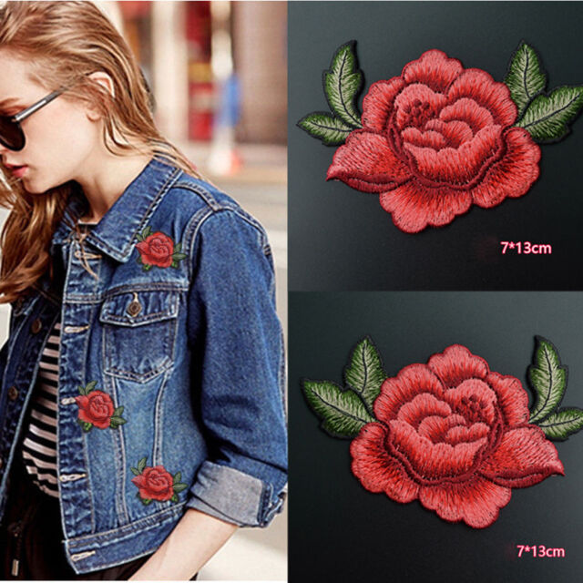 Red Rose Flower Iron on Applique High quality, detailed embroidery applique.  Can be sewn