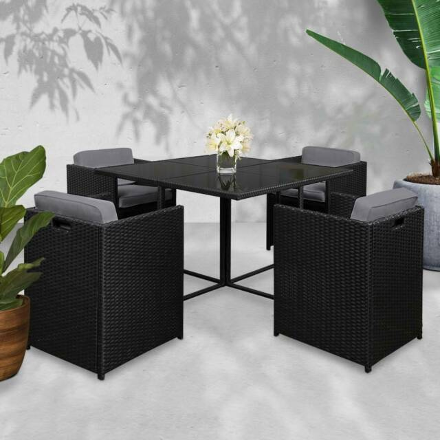 5 Piece Wicker Outdoor Dining Set - Black - FREE DELIVERY ...