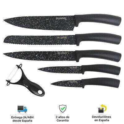 Juego de 5 cuchillos de cocina + 1 pelador - Diseño granito...