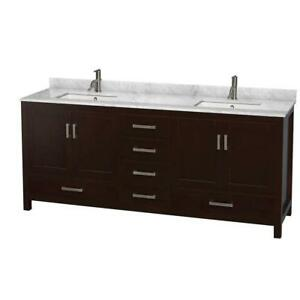 "Wyndham Collection Sheffield 80"" Double Bathroom Vanity Set NEW ** 5 CORNERS FURNITURE**"