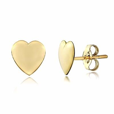 14K YELLOW GOLD VALENTINE HEART SHAPE STUD EARRING