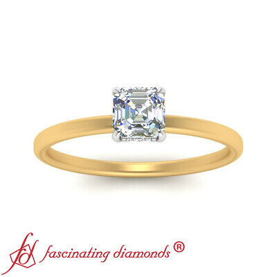 3/4 Carat Asscher Cut Diamond Delicate Shank Hidden Halo Wedding Ring For Women 2
