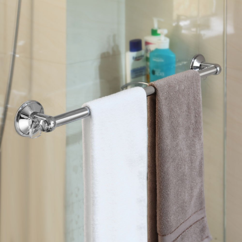 Shower Door Towel Bar Rack Holder Washcloth Chrome Suction Mount Bathroom  Bath