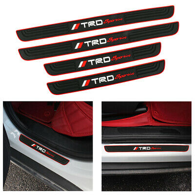 X4 TRD Sportio Red Rubber Car Door Scuff Sill Cover Panel Step Protector