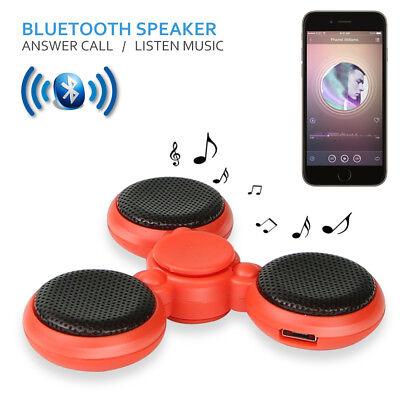 LED Bluetooth Tri Fidget Hand Spinner Music Speaker Desk Toy Gyro EDC-Red