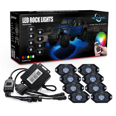 MICTUNING 8x Pod RGB LED Rock Light Offroad Wireless Bluetooth Music Controller