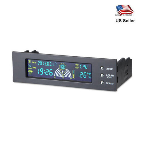 5.25 inch Bay Front Panel Digital LCD Display 3 Fans Speed Temperature Sensor Co