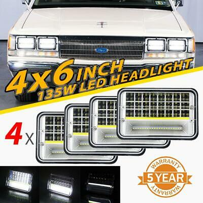"4x 4x6"" inch 135W LED Headlights Hi-Lo DRL Beam DOT Lamp for Ford 1980-1991 LTD"