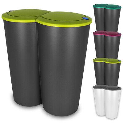 Duo Mülleimer Doppel Abfalleimer Papierkorb Mülltrenner Küche 2x25 Liter 50L NEU