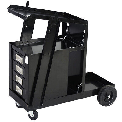 Welding Cart Workshop Equipment 4 Drawer Tank Storage For Mig Tig Plasma Welder