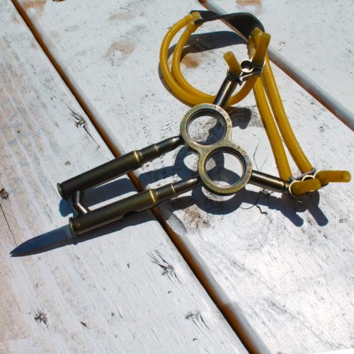 MKT6 Bullets Handle Sling Shot with Folding Knife Survival Camping brass slingsh