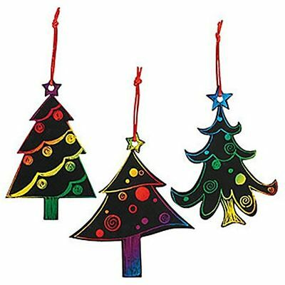 Magic Color Scratch Christmas Tree Ornaments (24 Count) - Crafts For Kids &