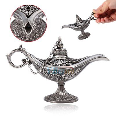 Genie Lamps (Magic Oil Lamp Ornament Genie Pot Carved Metal Arabian Light Home Decor)