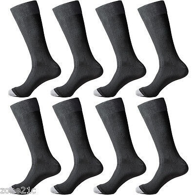 8 Pairs Lot Mens Black Solid Classic Business Dress Popular Large Socks 9-12