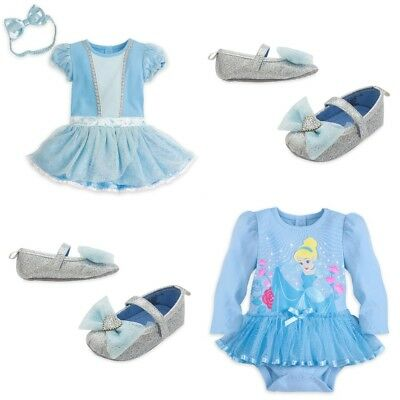 Disney Store Cinderella Baby Bodysuit Costume Sparkle Shoes Dress Up Princess (Baby Ups Costume)