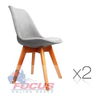 Set of 2 Dining Chair Padded Fabric Grey