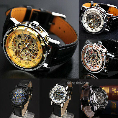 Classic Mens Black Leather Dial Skeleton Mechanical Sport Army Wrist Watch