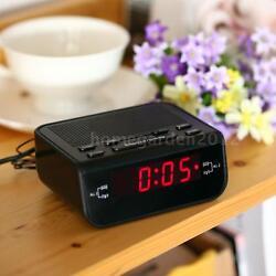 Compact LED Digital Alarm Clock FM Radio Dual Alarm Buzzer Snooze Sleep Function