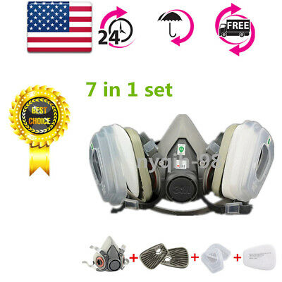 7in1 For 6200 Gas Mask Half Face Facepiece Painting Spray Protection Respirator