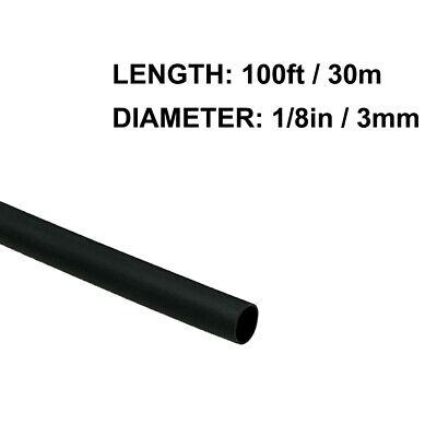 18in 3mm Diameter Heat Shrink Tubing Shrinkable Tube 100ft Black