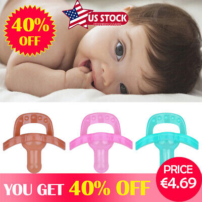 US Baby Newborn Kid Soother Holder Infant Orthodontic Silicone Pacifier Nipple