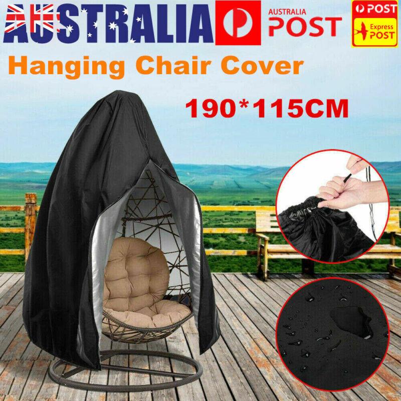 Garden Furniture - Hanging Swing Egg Chair Cover Furniture Garden Rattan Outdoor Rain Waterproof AU