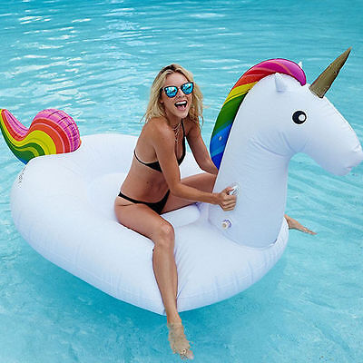 Inflatable Giant Fun Unicorn Rainbow Swimming Pool Water Float Raft Swim Ring