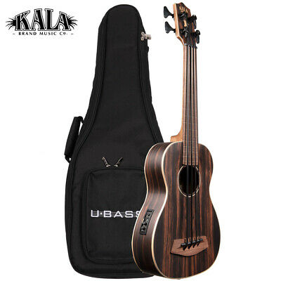 Kala U-BASS Striped Ebony Fretless Acoustic Electric Satin Finish with Gig Bag for sale  Petaluma