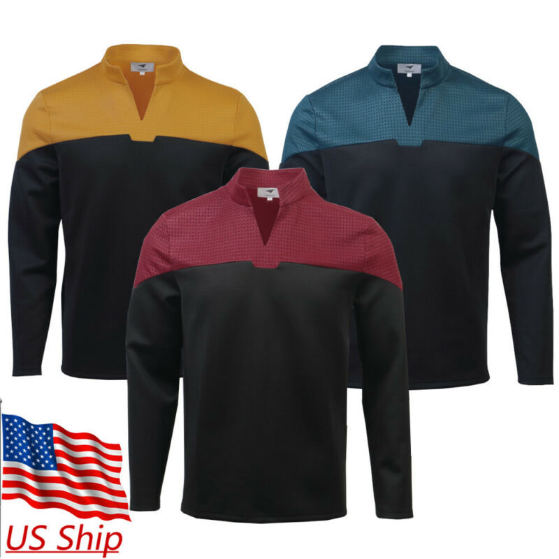 Cosplay Admiral JL Picard Red Uniform Startfleet Blue Gold Top Shirts Costumes