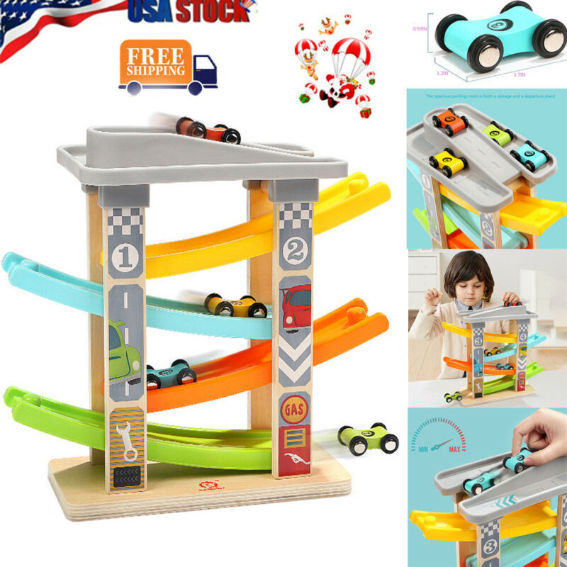 Toddler Toys Wooden Race Track Car Ramp Boys And Girls Gifts