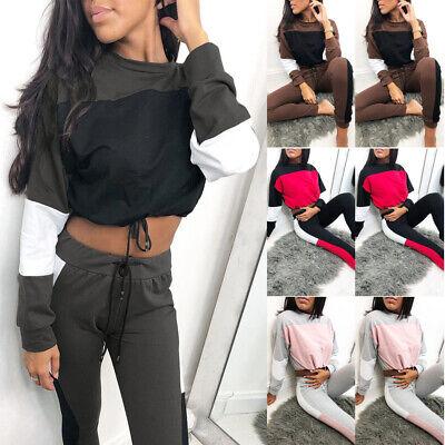 Ladies Co ord Crop Top Bottoms Set Casual Womens 2pcs Loungewear Suit Tracksuit