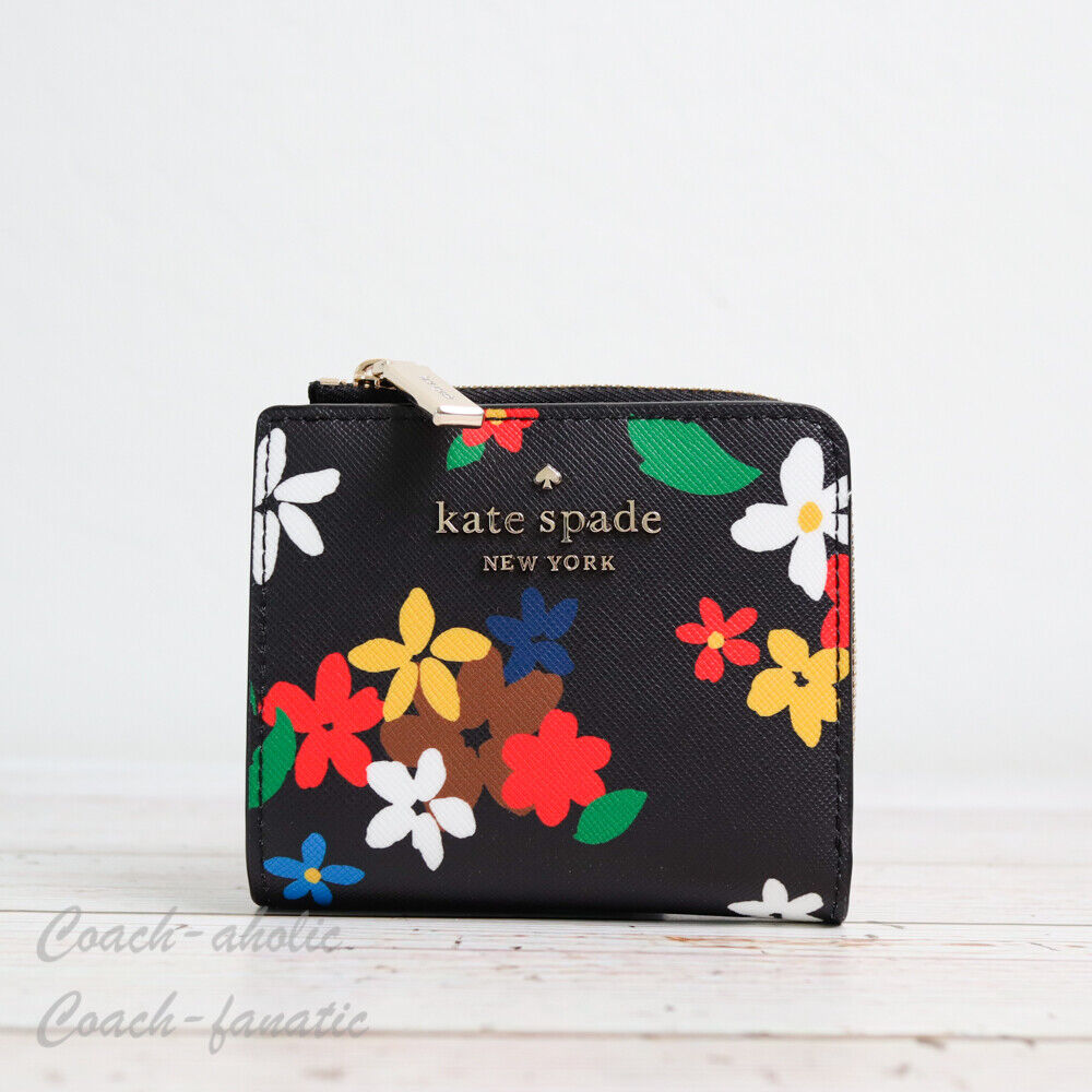 NWT Kate Spade Staci Floral Small L-zip Bifold Wallet in Black Multi