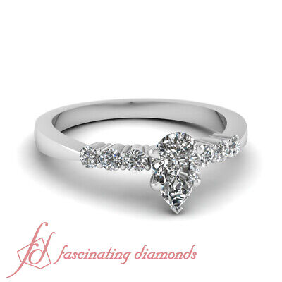 .75 Carat Pear Shaped Diamond 7 Stone Round Accented White Gold Engagement Ring