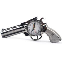 Revolver Model Alarm Clock Vintage 12 Hour Format Quartz Desks Travel Guns Timer