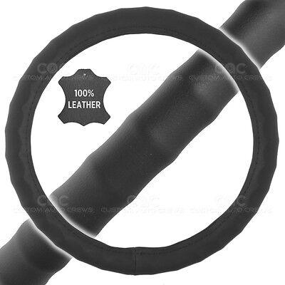 "Genuine Leather Steering Wheel Cover for Car SUV Truck Medium 14.5""-15.5"" Black"