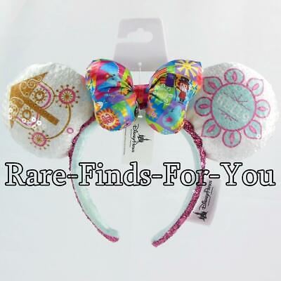 Disney Mouse Ears Headband (Disney Parks Minnie Mouse It's A Small World Sequin Ear Satin Bow Headband)