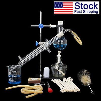 Usa Lab Essential Oil Distillation Apparatus Water Purifier Glassware 100ml Kit