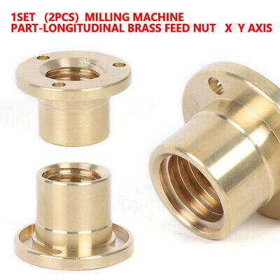 2pcs X-axis Copper Sleeve Milling Machine Tools Brass Feed Nut Copper Sleeve Set