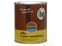Wilko Satin 5 Year Woodstain Medium Oak 250ml
