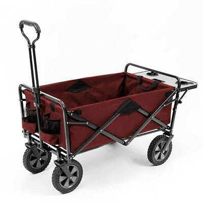 New Folding Red Sports Cart Wagon with Table Utility Mac Bea